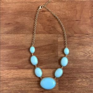 Gold and Light Blue Oval Statement Necklace